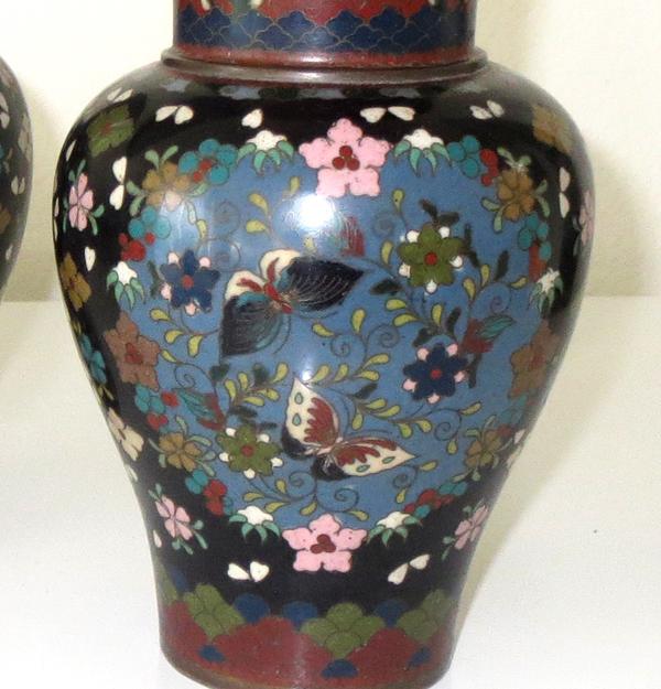Antique Cloisonne Vases Pair Early Meiji Period Japanese 19 C 7 H
